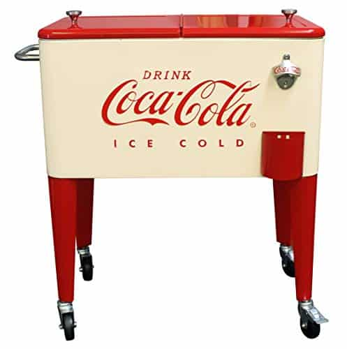 Leigh Country Cream and Red Coca-Cola Rolling Cooler